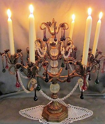 Antique 6 Arm Candelabra Ornate French Rococo Shabby Chic Brass Colored Crystals