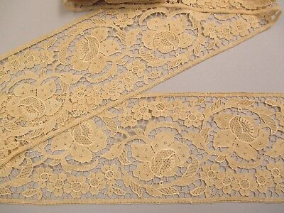 "Antique Victorian Chemical Lace Insertion Floral 4Yds X 6""W"