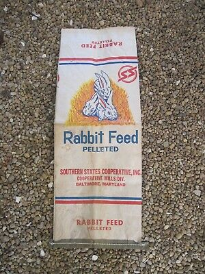 """Southern States Baltimore, MD. Paper Rabbit Feed Bag, flat 11""""x30"""", Gd.Used Cond"""