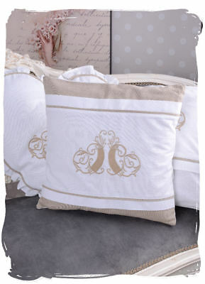 Monogram Embroidery Cushion Cover White Decor Pillow Cover Country House Style