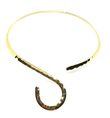 gold plated hammered neckwire necklace choker base with curve