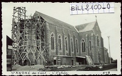 St-André des Eaux .restauration de l'église  . Photo ancienne . 1936