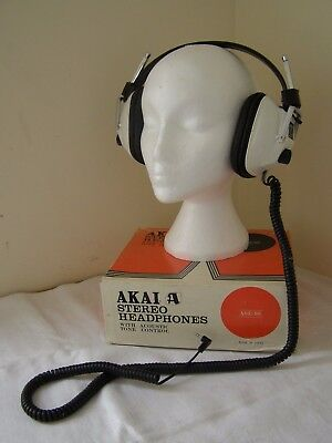 Vintage AKAI ASE-9S Stereo Headphones & Original Box Made in Japan ~Free UK Post