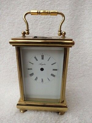 Heavy Brass Angelus Quartz Carriage Clock Case, Dial, And Hands For Spare