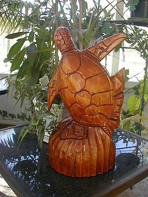 "Hand Carved 12 ""tall Teak Wood Sea Turtle On Stained Dark Teak Base Clear Coat"