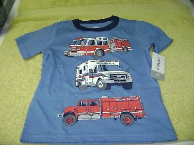 Boys  Fire  Trucks  T- Shirt   Size  2T New Nice Carter,s