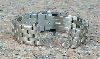 22mm CURVED END HEAVY BRUSHED STAINLESS STEEL BRACELET FAT PINS MODEL 7000 7002