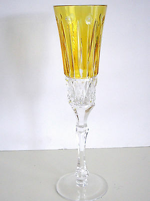 1 Faberge Xenia Flute Yellow Gold Cased Cut To Clear Crystal Signed