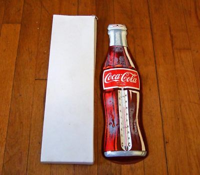 1960s Canadian Coca-Cola metal wall thermometer~bottle shaped~NIB