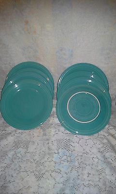 "8 DINNER PLATES set lot turquoise blue HOMER LAUGHLIN FIESTA WARE 10.5"" NEW"