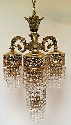 """Vintage 23"""" Gold Filigree Waterfall Fountain Prism 4 Light Hanging Chandelier"""