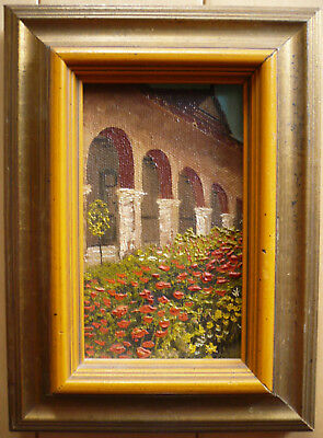 VINTAGE MISSION OIL PAINTING MINIATURE Realism CALIFORNIA CA CALIF FLORAL GARDEN