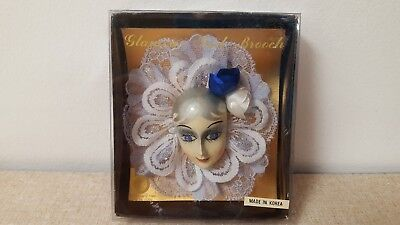 Vtg Brinn's Clown Mime Pierrot Glamour Girl Brooch Pin Made In Korea 1986 New