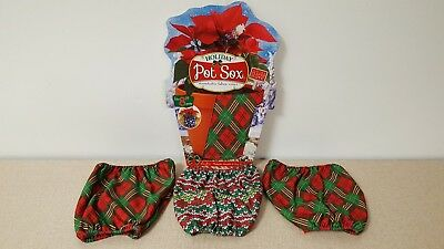 """4 Holiday Pot Sox Stretchable Fabric Covers (1) 8"""" & (3) 6"""" Kimco New"""