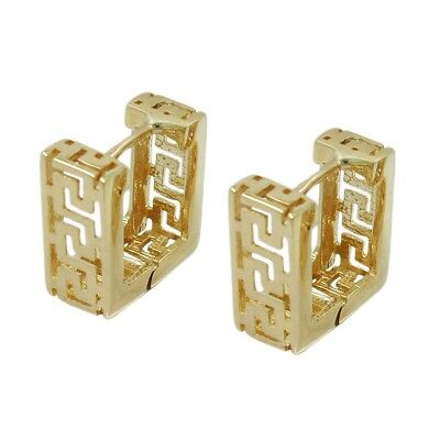 Pair Hoop Earrings Square with Ancient Greek Pattern Antique 375 YELLOW GOLD