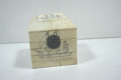 "Scrimshaw Bone Trinket Box 4"" x 4"""