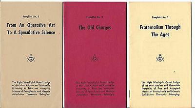 Set of 8 Pamphlets Booklets Free and Accepted Masons of PA FREEMASONS