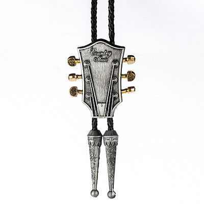Western Mens Antique Silver Guitar Leather Rope Bolo Neck Tie Party