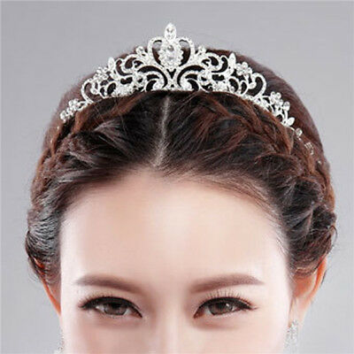 Bridal Princess Austrian Crystal Tiara Wedding Crown Veil Hair Accessory