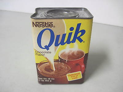 1970s/80's NESTLE QUIK CHOCOLATE FLAVOR UNOPENED TIN BOX QUIK BUNNY RABBIT