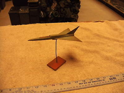 Vintage Wooden Handmade Delta Wing Airplane with Stand  Dusty from long Storage