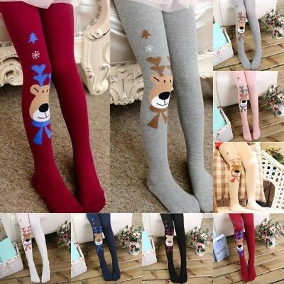 Kids Girls Cotton Christmas Elk Tights Socks Stockings Pants Hosiery Pantyhose