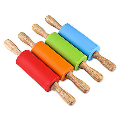 22cm Anti-stick Silicone Rolling Pin With Wood Handle Kitchen DIY Tool For Kid