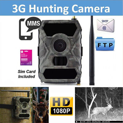 3G MMS Hunting Scouting Game Trail Camera 12MP HD Infrared Night Vision