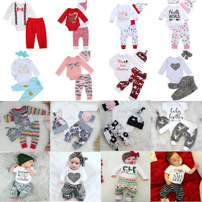 Newborn Baby Boys Girls Christmas Clothes Tops Romper Pants Hat 3PCS Outfits UK
