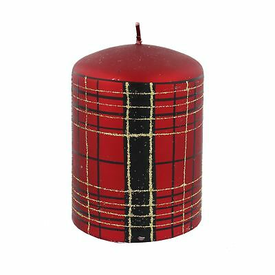"Red & Gold Glitter & Black Tartan Christmas 4"" Pillar Candle"