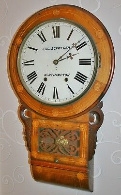"Antique ""J & C Schwerer, Northampton"" Inlaid Mahogany Wall Clock for Restoration"