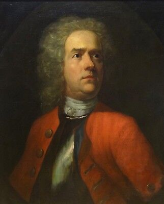 18th Century Portrait English Military Officer Wig Red Tunic Oil Painting
