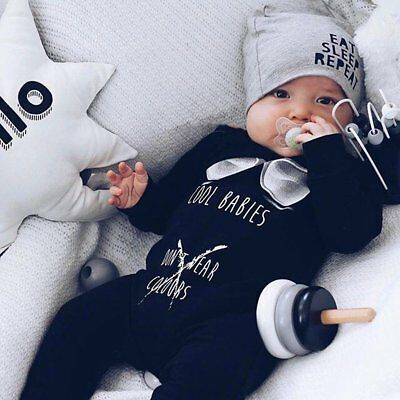 Newborn Baby Boys Girls Long Warm Romper Jumpsuit Bodysuit Cotton Outfit Clothes
