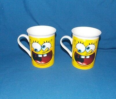 2012 Viacom Spongebob Squarepants Yellow Coffee Tea Mug Mugs Set Of 2 ceramic