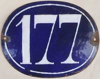 Large old oval French house number 177 door gate plate plaque enamel steel sign