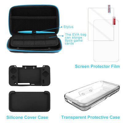 5in 1 Carrying Storage Case +Stylus+Protector Film for Nintendo New 2DS XL AC861