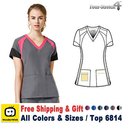WonderWink Four Stretch (XS-3X) Women's Color Black Medical Nurse Scrub Top