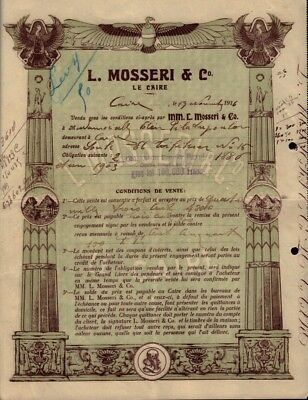 Bank L Mosseri Cairo  Egypt 1916 - Vign. Sphinx, Pyramids - very decorative