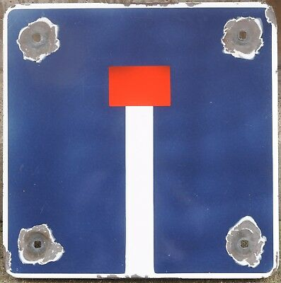 Old French enamel steel road street traffic direction sign dead end 1977