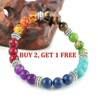 Hot Sale 7 Chakra Healing Balance Beaded Bracelet Lava Yoga Reiki Prayer Stone