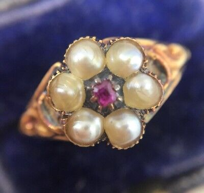 Victorian Antique Ruby And Pearl Yellow Gold Pansy Cluster Ring Pretty Ornate