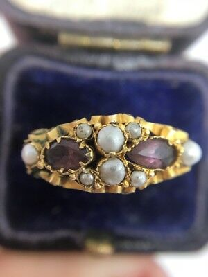 Victorian Antique Amethyst Pearl Yellow Gold Ring Pretty Ornate