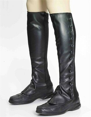 Deluxe Steampunk Costume Black Faux Leather Boot Tops Spats