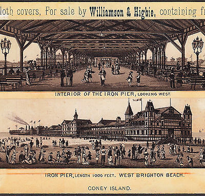 Iron Pier Brighton Beach Coney Island 1800's Antique Souvenir Advertising Card