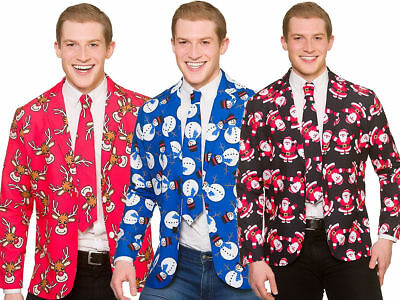 Christmas Suit Jacket + Tie Matching Novelty Adults Xmas Fancy Dress