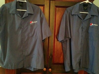 Pepsi 2 Button-Front Shirts, XL, Logo 2x, Worn by Retail Delivery Person, Used