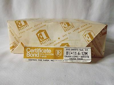 "Eastern Certificate Bond Typewriter Paper 1 package 500 Sheets 8 1/2"" X 11 New"