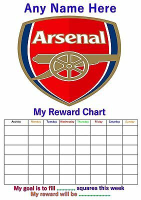 Personalised Childrens A4 Reward Behaviour Chart Arsenal Football And Stickers !