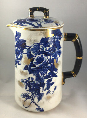 Flow Blue Coffee Pot Antique Crazing Nicks Flowers Floral Strainer English 716