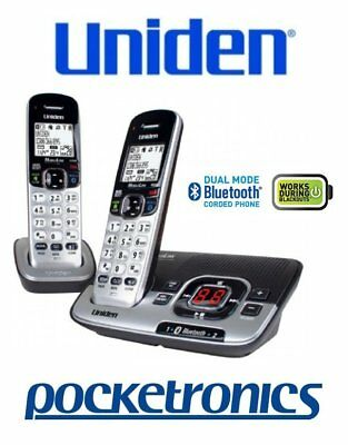 Uniden DECT 3136BT+1 Twin Bluetooth silver/black Cordless Phone 2 Handsets NEW